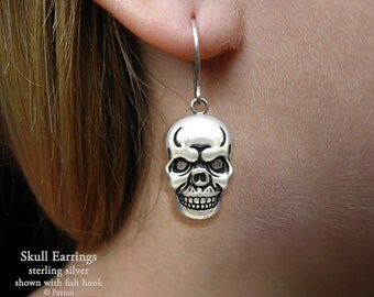 Skull Earrings Sterling Silver Hand Carved & Cast Fish Hook or Post