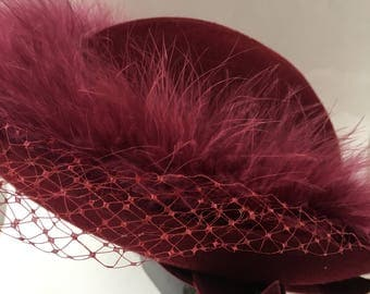 Magenta Wool and Feather 1950s Hat with Netting Syvia Design