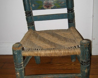 shabby antique painted Mexican child's chair