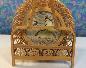 Vintage Boxed Wicker Butterfly Wing Coasters in Basket 1970s Bamboo Rattan Boho