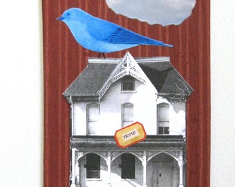 Collage.  Original collage.  OOAK collage.  Real simple art.  Bird on a house.  Unframed collage.