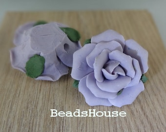 CR-35-HM - 28mm Hand Made Large Ceramic Rose Flower - Lilac