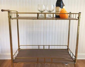 MID CENTURY BAR Cart/Gold Bar Cart/ Vintage Bar Cart/Vintage Barcart/Vintage Barware/Rolling Bar Cart at Modern Logic