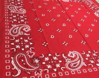 1970's spiked Paisley square dot small Tulip flowers Patterned red Bandana 17.5x17.5 Made in USA all Cotton #63
