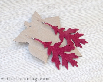 Suede Leaves Earrings White Oak burgundy color, elf, elven, gift, leaf