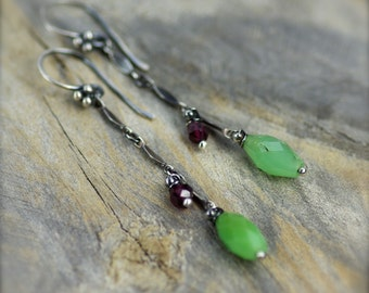 Chrysoprase and Garnet Gemstone Earrings. Long Chrysoprase Gemstone Earrings.  Long Dangle Chrysoprase