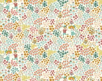 Organic KNIT Fabric - Birch Hidden Garden Knits - Meadow Frolic Cream Knit