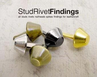 100pcs 7mm silver/nickel cone PURSE FEET Studs Nailheads Spike DIY