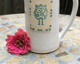 Ceramic Owl Mug in White and Aqua, 15 ounce size.