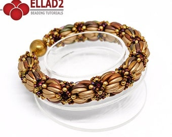 Tutorial Saba Bracelet - Beading tutorial, Beading pattern, Instant download, Ellad2