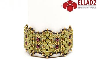 Beading Tutorial Oliveta Bracelet - Beading pattern, Jewelry Tutorial, Instant download, design by Ellad2
