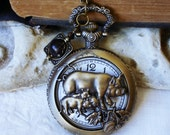 Mother Pig and Piglets - Sow - Quartz Antiqued Bronze Pocket Watch Necklace - Filigree Cover - Black Howlite Charm  C 8-3