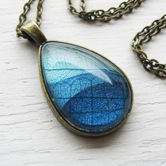 Real Leaf Necklace - Dark Blue Teardrop Botanical Necklace