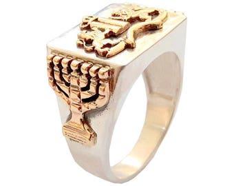 925 Silver 9k Gold Ten Commandments Ring ,Lions Ring ,Men Ring,Menorah  ring