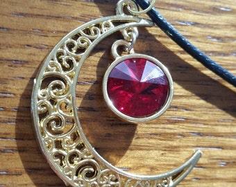 Crimson Swarovski Crystal Amulet of the Moon