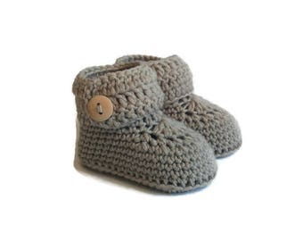 Gray Baby Booties, Knitted Baby Booties, Knit Baby Booties, Crochet Baby Booties, Crib Shoes, Merino Wool, Baby Gift Warm and Woolly Etsy