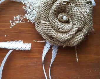Burlap corsage,  burlap rose,  fabric flower corsage,  rustic wedding, burlap wristlet,  wrist corsage,  rustic corsage,  burlap and lace