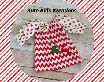 Toddler Christmas Dress, Peasant Dress, Reindeer and Chevron, Size 2T, Ready to Ship