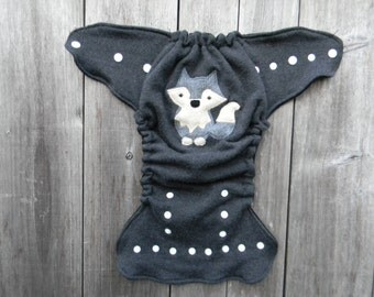 Upcycled Merino Wool Nappy Cover Diaper Wrap Cloth Diaper Cover One Size Fits Most Charcoal Gray With Wolf Applique/ Black