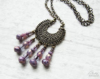 AMETHYST MOON .:. Bohemian Moon Vintage Brass necklace with picasso czech glass, ornate filigree crescent moon, long chain