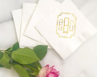 Bamboo Key Custom Monogram Custom Foil Letterpress Printed Napkins - for Weddings, Events, and More by Abigail Christine Design