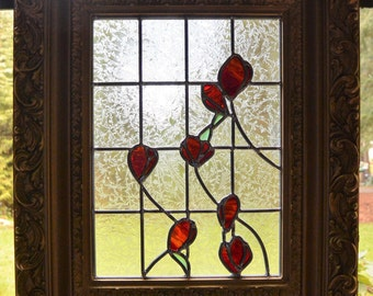 Stained Glass Rose Panel