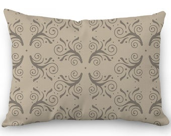 Beige lumbar pillow, decorative throw pillow cover, flourish design, cotton rectangular pillow with hidden zipper, tan