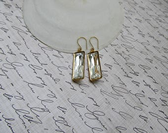 Clear Crystal Baguette and Gold earrings, Wedding earrings, Bridesmaid earrings