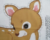 Springs Mills Baby Deer Fawn Stamped Craft Fabric Panel Print Cut stuff and Sew Pillow Toy