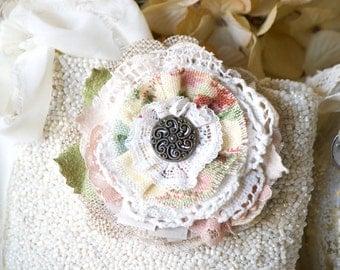 Rustic Fabric Flower, Vintage Button Brooch, Fabric Flower Pin, Pastel Flower Corsage, Wedding Dress Sash Pin, Bridesmaid Flowers