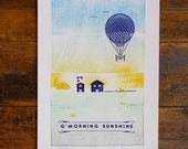 Letterpress Poster – Morning Farm Scene for Nursery or Bedroom
