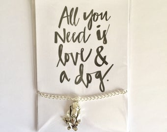 All You Need Is Love And A Dog - Silver Basset Hound Bracelet