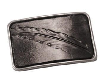 Belt buckle - Feather belt buckle - leather belt buckle