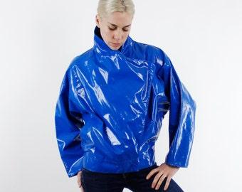 Vintage 80's Electric Blue vinyl fashion rain jacket, new wave / motorcycle style jacket, batwing sleeves, exaggerated collar - Medium