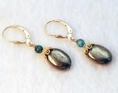 Pyrite earrings with Kyanite / Pyrite Crystal earrings / Iron Pyrite jewelry / Kyanite jewelry / Gold Stone earrings / Fools Gold earrings