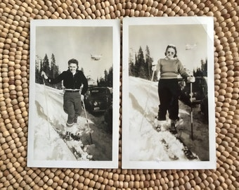 Original Vintage Ski Photos - Snapshot - Photograph - Collectible - Old Photo - Paper Ephemera - Ski Memorabilia