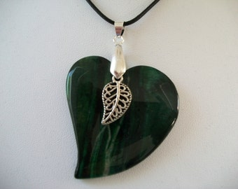 Green Stone Leaf Pendant with Filigree Leaf Charm on Cord Necklace
