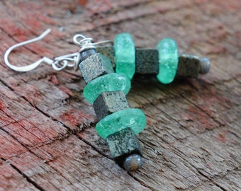 Rustic Industrial, Recycled Green Glass and Iron Pyrite Earrings, Wabi Sabi Style, Eco Friendly Jewelry