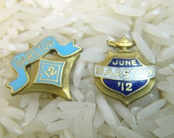 1912 The Barstow School - Two Tiny Lapel Pins - Blue Enamel and Gold
