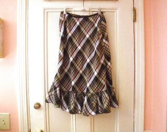1950s Bias Cut Plaid Crinoline Petticoat Underskirt Skirt - Medium - Rayon Acetate
