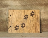 Wood Scrap Book for Pet with Dog Footprints Pet Memorial Book Rustic Photo Book