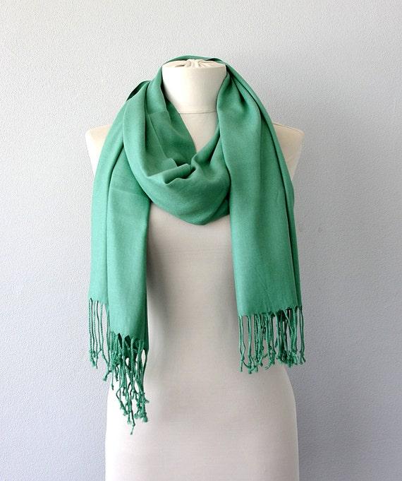pashmina shawl mint green scarf thick pashmina wrap fringe