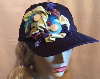 Baseball Cap Navy Blue decorated with A Collage of  Green Flowers and Vintage Buttons