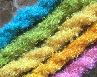 Mini Skeins  Boucle mohair hand dyed knitting crochet supplies wool yarn  Waldorf Doll hair merino baby photo pro