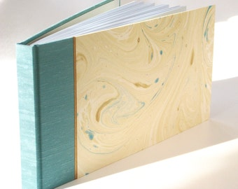 Guest Book - Blue Cloth with Hand Marbled Paper