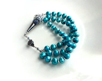 beaded pearl  cuff bracelet / wire wrapped jewelry / teal steampunk handmade gift