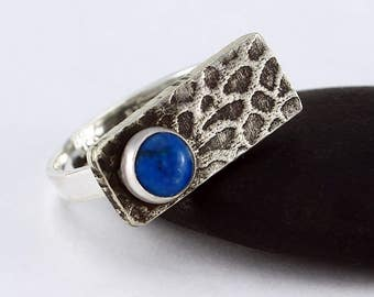 "Size 8 Ring Handcrafted Sterling Silver & Denim Lapis Stone ""Sea Fan"" Texture Contemporary Artisan Jewelry Design OOAK Ring 3354653932017"