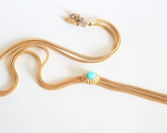 Vintage gold mesh necklace. Turquoise necklace.  Vintage jewellery