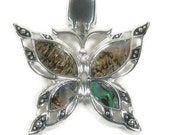 Magnetic Butterfly Pendant - Clip On - Interchangeable - Abalone Butterfly - Removable - DIY Jewelry - Butterfly Jewelry - DIY Necklace