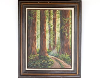 Vintage Large Framed California Redwood Oil Painting Signed